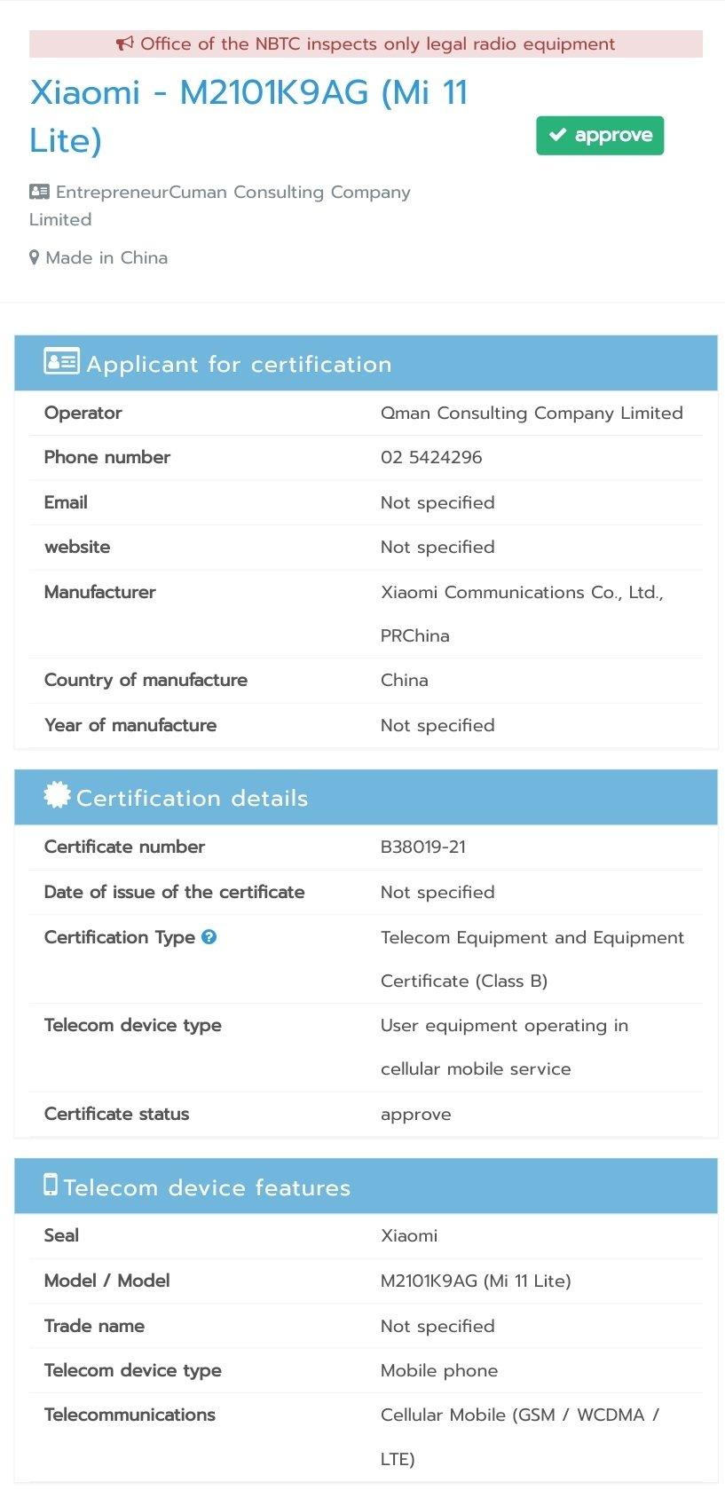 Xiaomi Mi 11 Lite specyfikacja techniczna certyfikat plotki przecieki wycieki