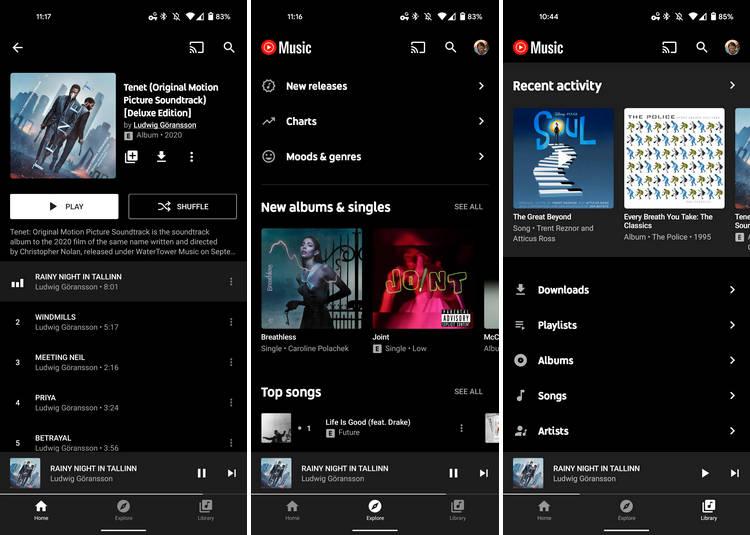 aplikacja YouTube Music web dark mode Android ciemny motyw