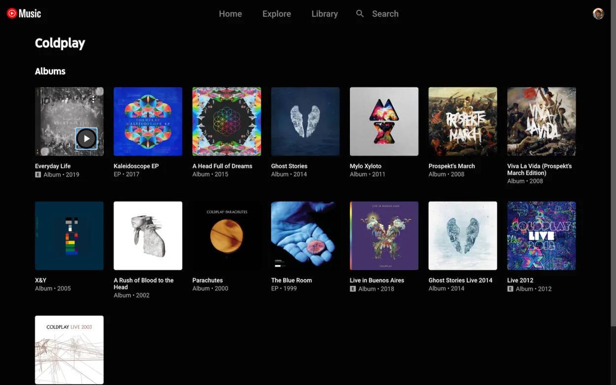 aplikacja youtube music widok siatki albumy single