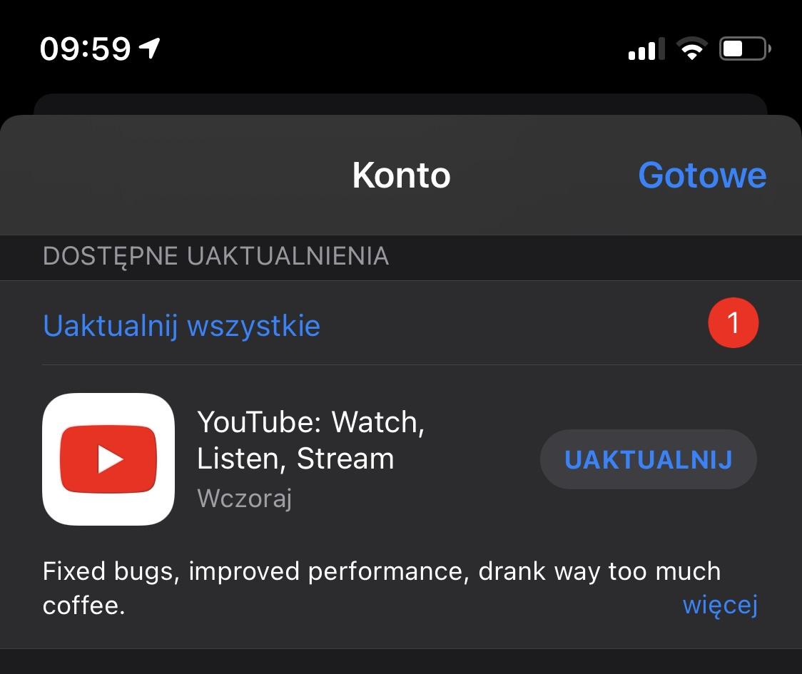 aplikacje Google na iPhone'y YouTube na iOS aktualizacja