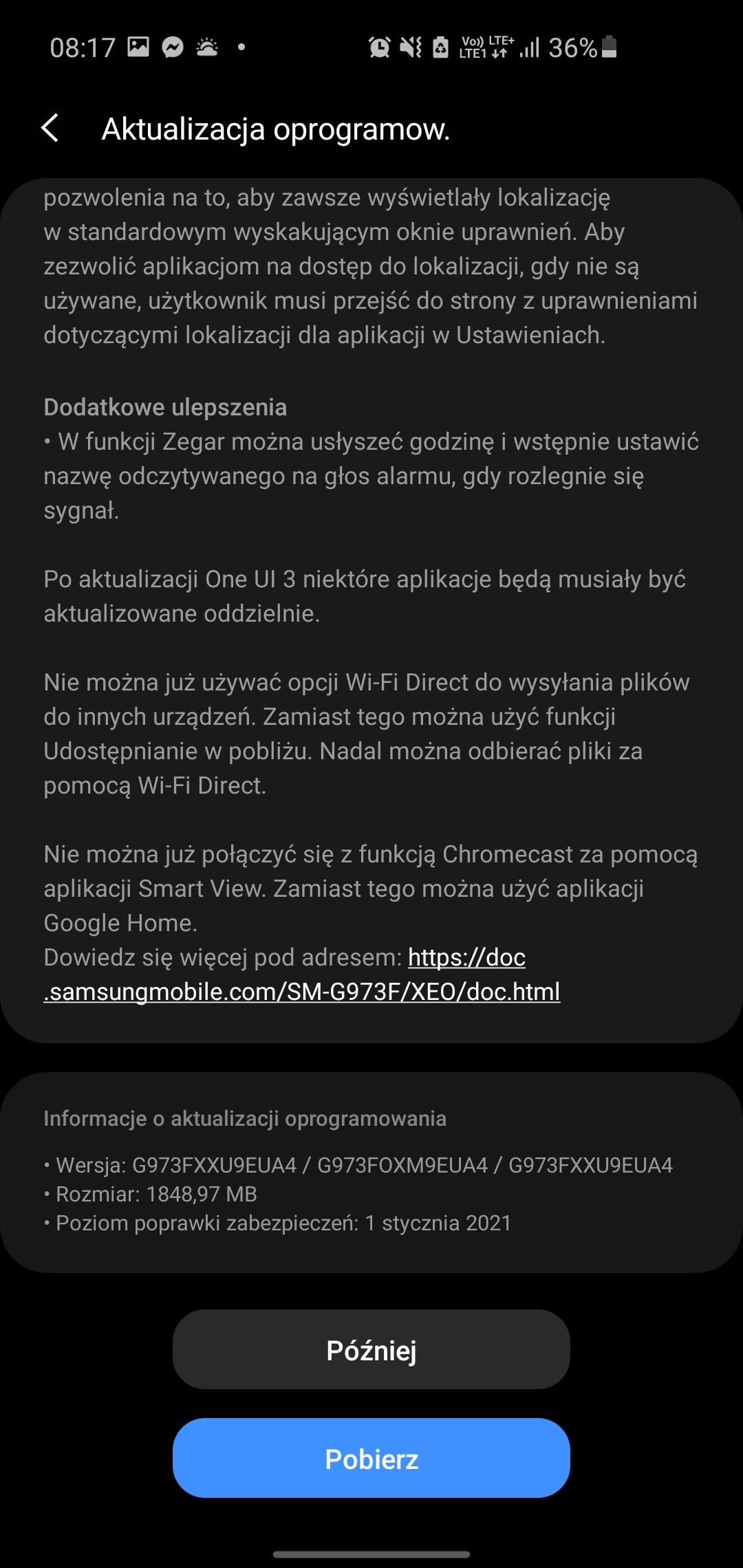 aktualizacja One UI 3.0 Android 11 dla Samsug Galaxy S10 S10e kiedy w Polsce
