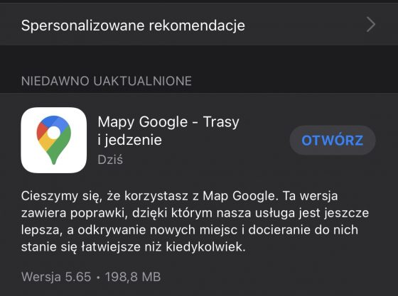 aplikacja Google Maps na iPhone iOS 14.5 aktualizacja