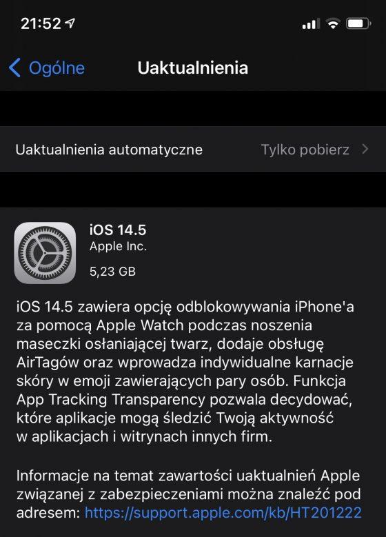 aktualizacja iOS 14.5 RC iPadOS 14.5 RC Apple iPhone iPad co nowego nowości zmiany opinie czy warto instalować
