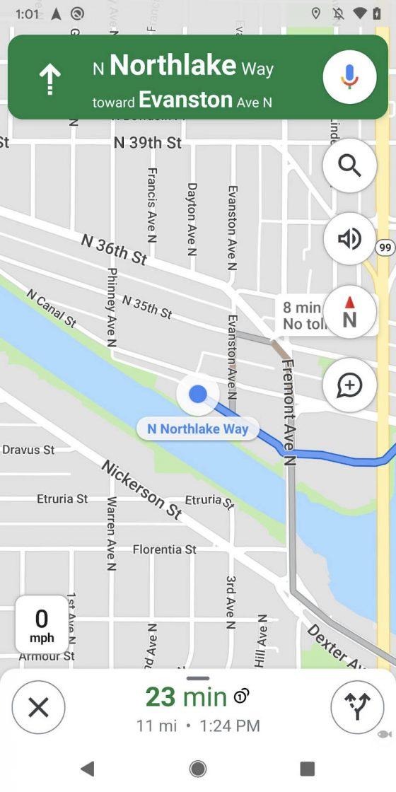aplikacja Google Maps widżet kompas