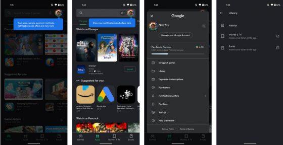 Sklep Play nowe ustawienia odświeżona nawigacja Google