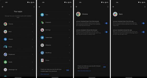 Asystent Google ustawienia menu moje aplikacje