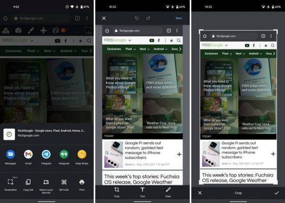 Google Chrome na Androida menu Udostępnij nowy edytor narzędzie zrzuty ekranowe