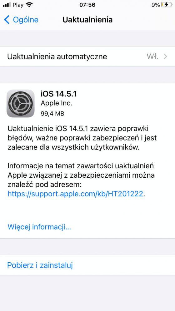 aktualizacja iOS 14.5.1 iPadOS 14.5.1 Apple iPhone iPad co nowego wykaz nowości zmiany opinie czy warto instalować watchOS 7.4.1