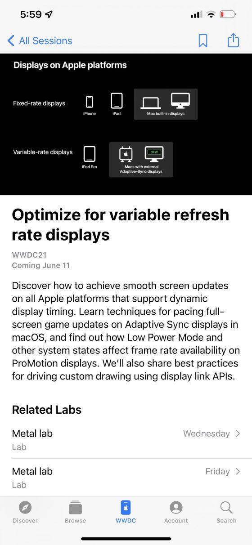 apple iPhone 13 Pro ekran 120 Hz WWDC 2021