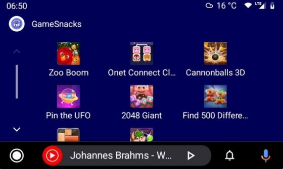 gry GameSnacks w Android Auto 6.7 beta
