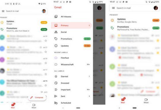 Gmail Android zmiany Material You kolory Google