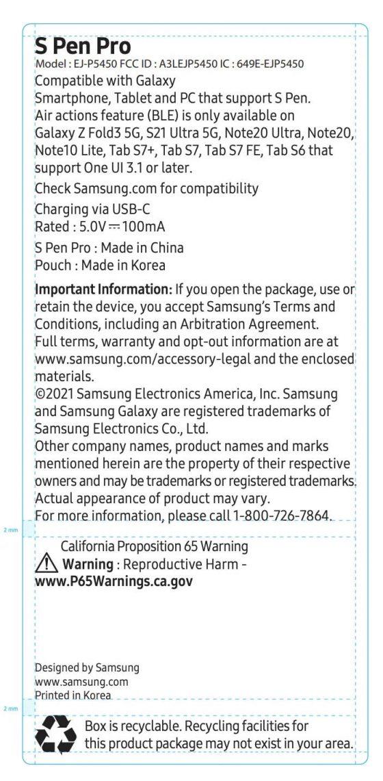Samsung Galaxy Z Fold 3 S Pen Pro