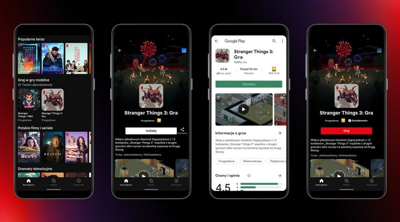 testy aplikacja Netflix gry Stranger Things