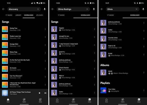 aplikacja YouTube Music na Androida wyszukiwanie pobrane muzyka