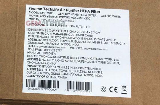oczyszczacz powietrza Realme Techlife Air Purifier cena specyfikacja techniczna