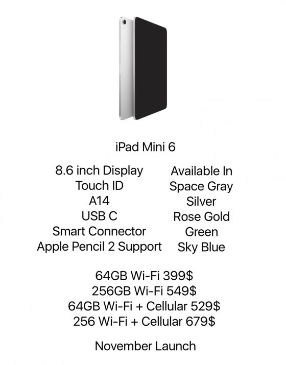 Apple Pencil kiedy Pad Mini 6 cena plotki przecieki specyfikacja techniczna