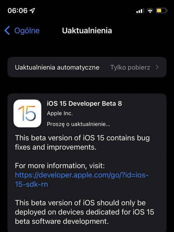 aktualizacja iOS 15 beta 8 Apple iPhone