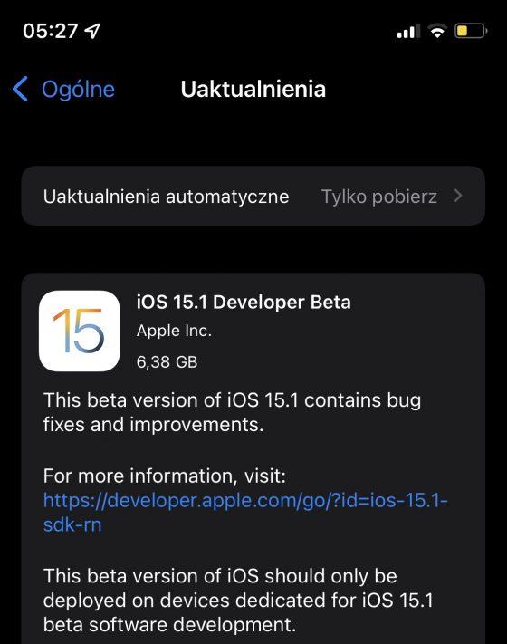 aktualizacja iOS 15.1 beta 1 Apple iPhone co nowego nowości zmiany