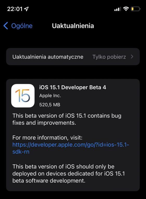 kiedy macOS Monterey beta 10 iOS 15.1 beta 4 co nowego nowości